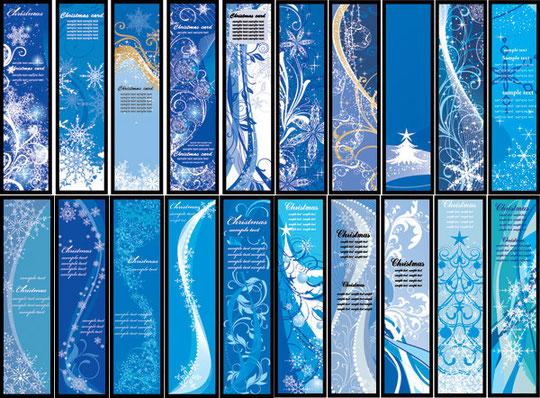 雪を描いた青いクリスマスのバナー blue vector christmas background2