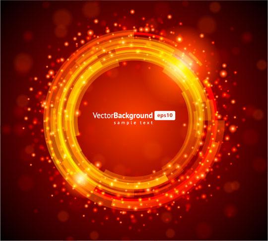 オレンジ色に輝くサークル Red shiny circle vector