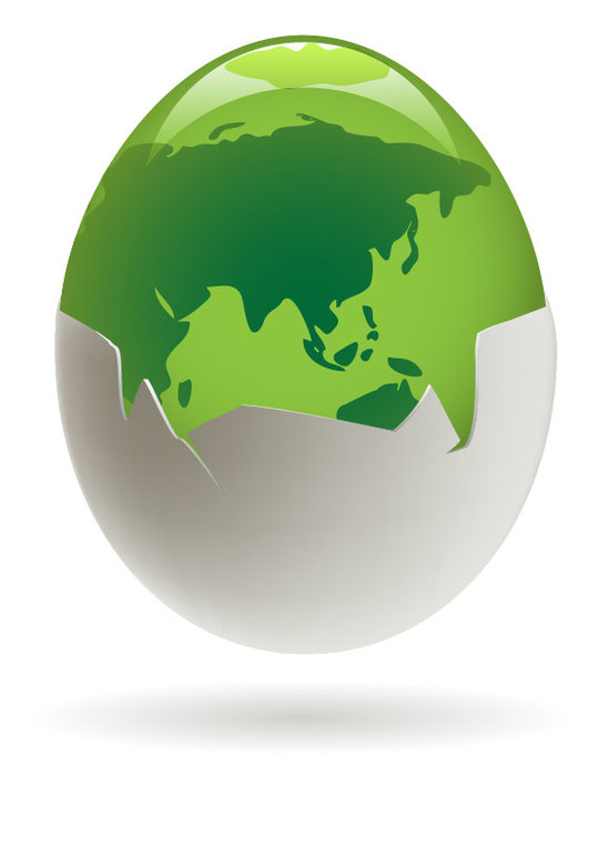 地球環境を卵で表現 Environmental egg vector graphic