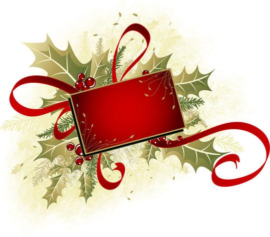 柊のクリスマス飾りテキスト スペース CHRISTMAS DECORATION PATTERNS