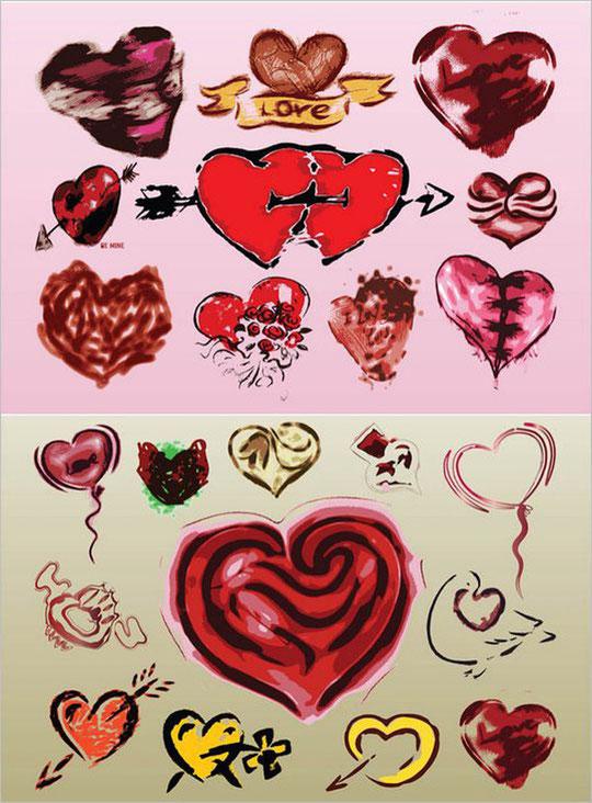 バレンタインデー向けグランジルックのハート grunge hearts for your romantic Valentine's Day designs