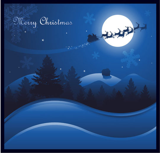 月明かりのクリスマスの夜景 vector christmas night with moon1