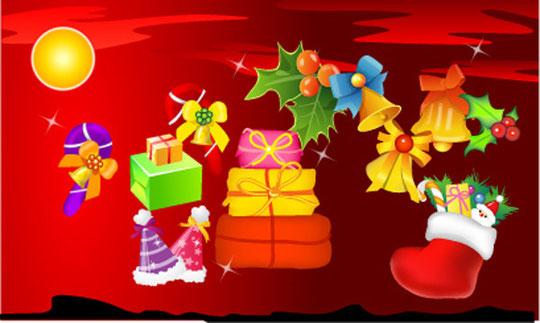 クリスマス飾りのイラスト christmas decoration element vector1