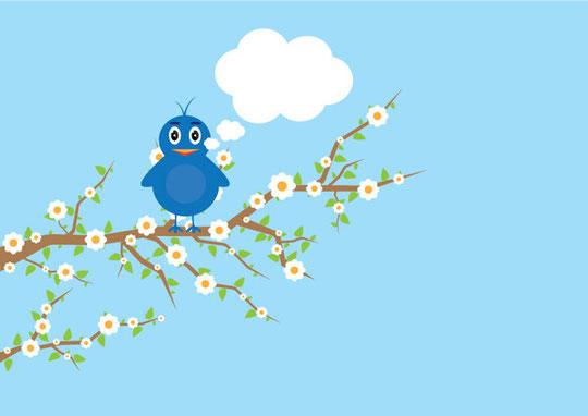 樹の枝に止まる鳥 Bird on tree vector