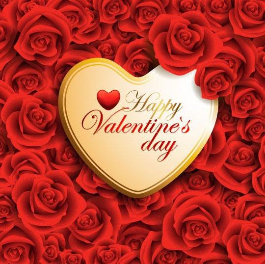 バレンタイン ハートと赤い薔薇の背景 Red Valentine Heart On Roses Background