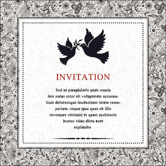 鳩を描いた招待状 invitation card with ornament floral and old textured pattern