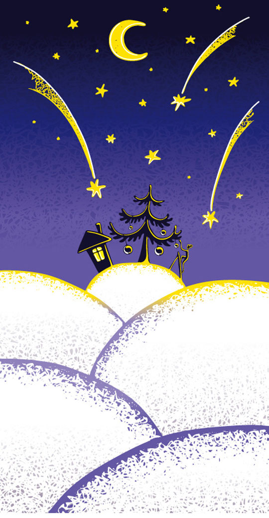 クリスマスの星空 LOVELY CHRISTMAS ILLUSTRATION VECTOR