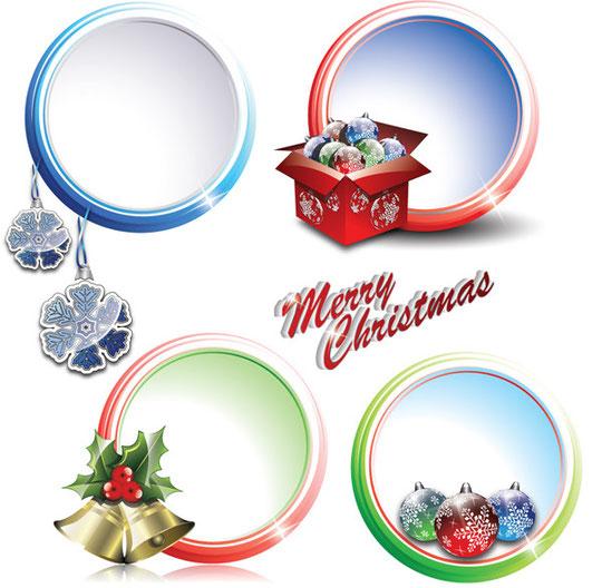 クリスマス飾りのイラストとフレーム 2 sets of christmas vector2
