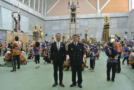 最後に市長さんと消防局長を記念撮影
