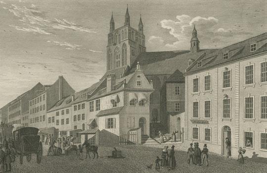 Stettin: Die St. Jakobikirche um 1838 von der Breiten Straße aus. Stich von W. H. Rossmäßler
