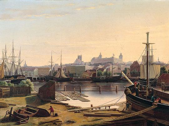 Stettin: Blick über die Oder auf das Schloss und den Schlosskirchtum. Ludwig August Most, 1847.
