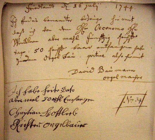 David Baumann und Christian Gottlieb Richter: eigenhändige Unterschriften