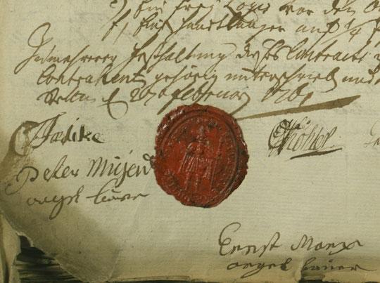 Stettin, St. Nikolai: Kontraktabschluss mit Migend & Marx, 27. Februar 1761