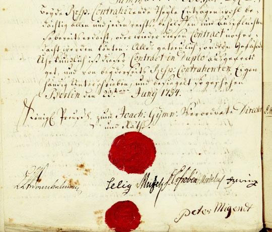 Kontraktabschluss mit Peter Migend, Berlin den 23. Juni 1754