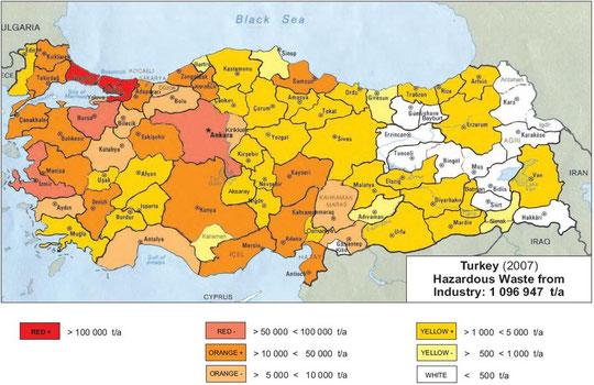 Abb.: Sonderabfallmengen Türkei 2007 aus der Industrie (alle Branchen) - ohne Bergbau, öffentl. Dienstleistungen, Transport, Kleinmengensammlung (Quelle: HaWaMan Türkei)