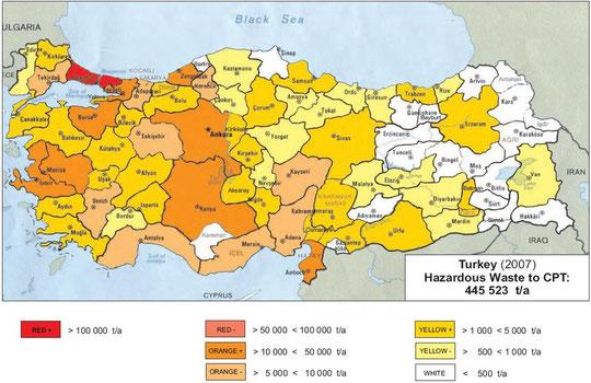 Abb.: Sonderabfallmengen Türkei 2007 zur Behandlung in einer CPB aus der Industrie (alle Branchen) - ohne Bergbau und öffentl. Dienstleistungen (Quelle: HaWaMan Türkei)