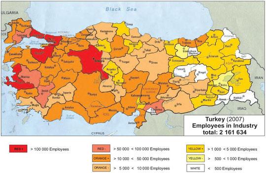 Abb.: Industriebeschäftigte Türkei 2007 (Quelle: HaWaMan Türkei)