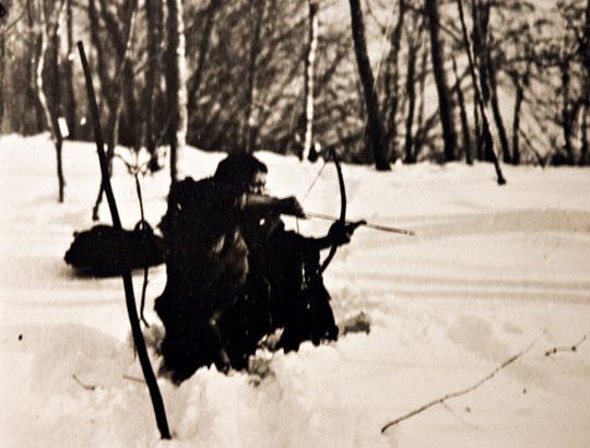 むかしの猟りのようす(博物館の写真)