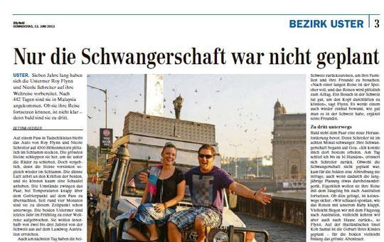 Presseartikel im Zürcher Oberländer vom 13. Juni 2013