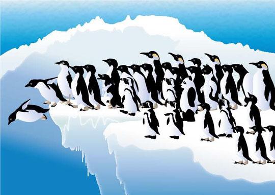 ペンギンの中に隠れてる4匹の動物