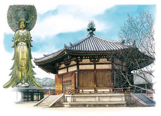 法隆寺夢殿と百済観音