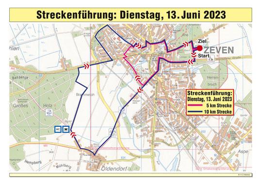Die Streckenführung des zweiten Tages, Dienstag der 04.06.2019