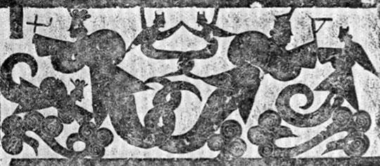 Fou-hi et sa contrepartie féminine Niu-koua, tenant le compas et l'équerre.