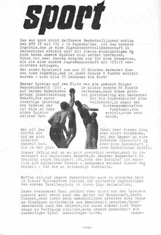 """Aus der Schülerzeitung """"Das Fenster"""" ca. 1963"""