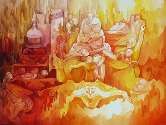 """""""LA RENAISSANCE"""". Huile sur toile. 116 x 89 cm. (50 F)."""