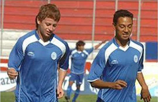 Fabricio Alfaro: En entreno con su compañero de Seleccion Nacional de Futbol