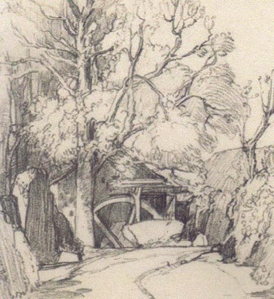 Postcard of the Old Mill, Lamorna, drawn by SJ Lamorna Birch