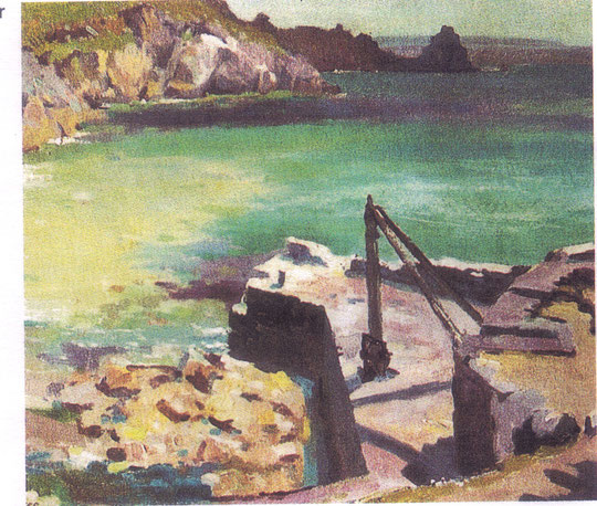 Remains of Old Crane Lamorna Cove, by Stanley Gardiner, 1949