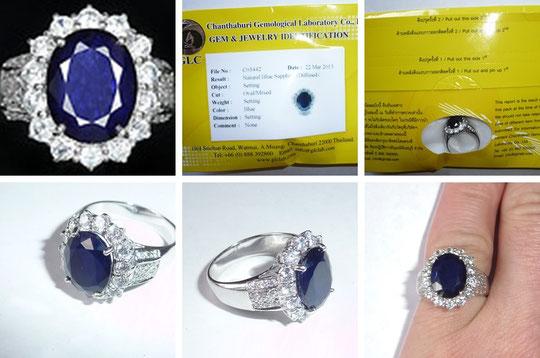сапфир кольцо в серебре