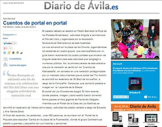 Noticia en El Diario de Ávila