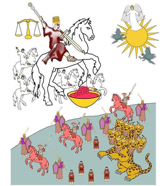 La bête à 7 têtes et 10 cornes symbolise une organisation internationale qui regroupe et représente toutes les nations du monde, elle reçoit son pouvoir du diable, le dragon.