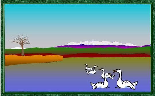 木場潟に白山と白鳥