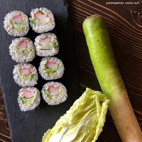 沼山大根と白菜の巻き寿司