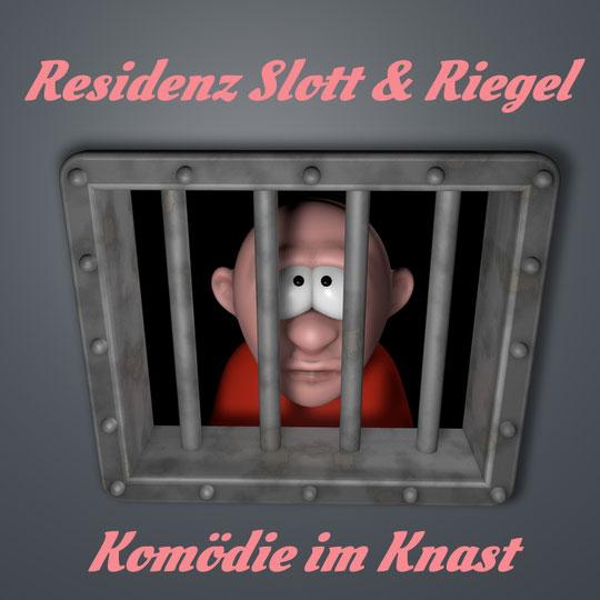 """Mann schaut durch Gitter seiner Gefängniszelle. Dazu der Titel: """"Residenz Slott &  Riegel"""""""