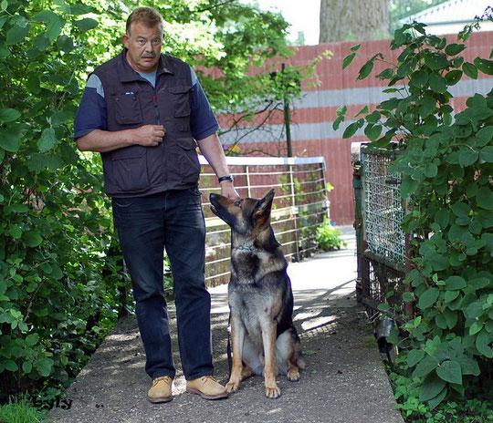 Klaus und Buddy auf dem Weg zum Schutzdienst