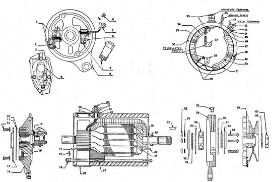 Generator assembly WO-A105 Autolite GDA-4810-A WILLYS MA