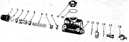 Hauptbremszylinder mit Bremslichtschalter, zerlegt