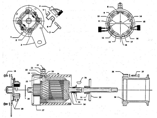 Starting motor assembly WO-A1245 Autolite MZ-4113 WILLYS MB