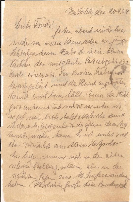 Brief vom 20.9.44