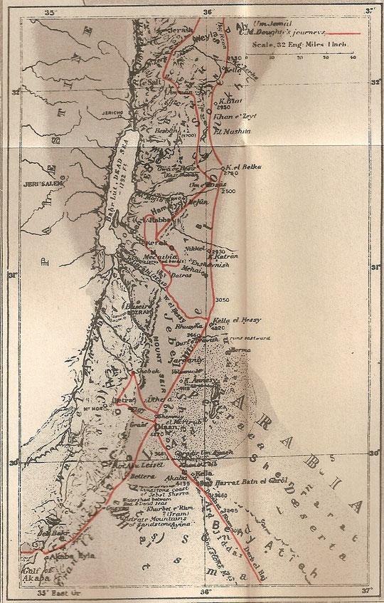 Von ihm gefertigte Karte des Gebietes.