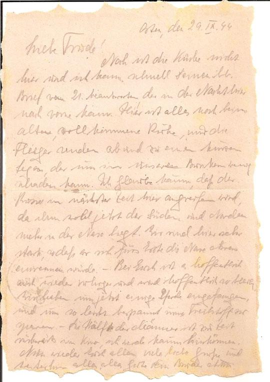 Brief vom 29.9.44-Sein letzter Brief