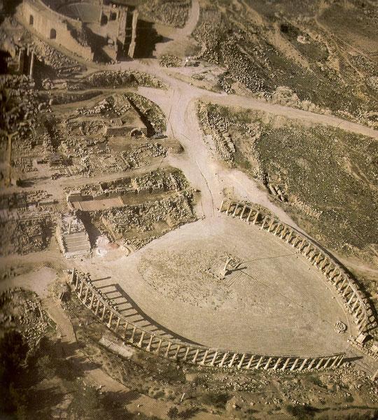 Gerasa-Luftaufnahme vom Forum.