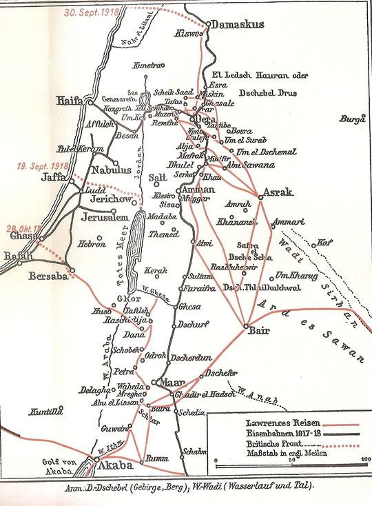 Karte seiner Reisen.