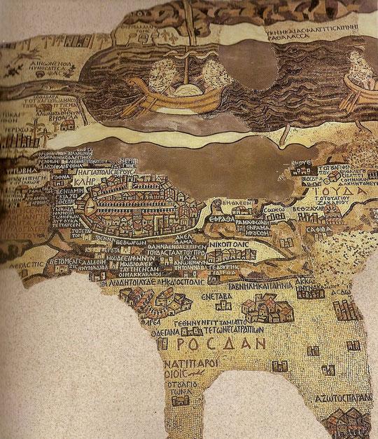 Karte von Madaba in Mosaik gelegt.