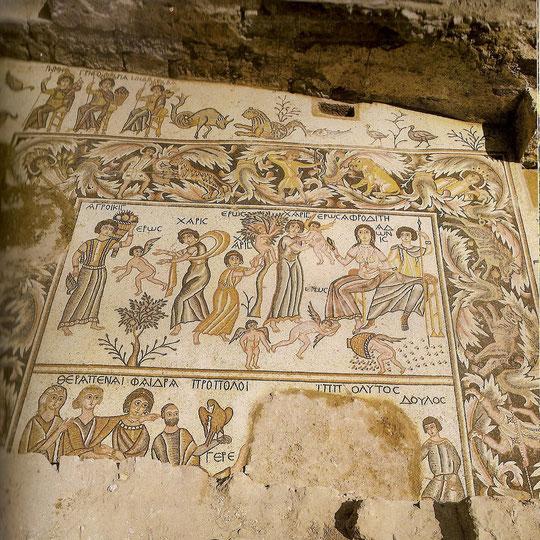 Saal des Hippolytos,östlicher Mosaikboden.