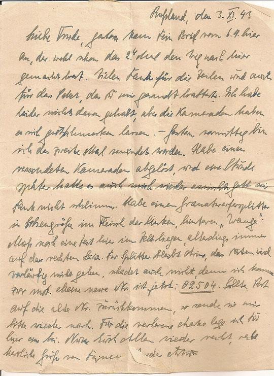 Brief vom 03.11.1943
